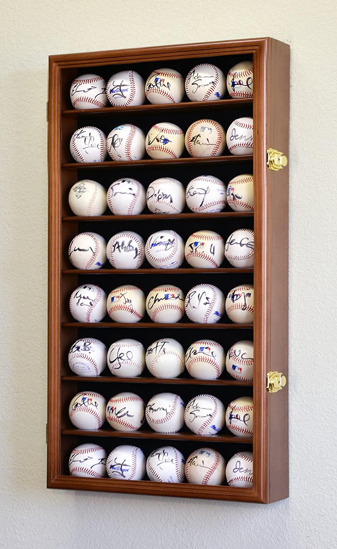 40 Baseball Ball Display Case Cabinet Holder Wall Rack w/98% UV Protection Lockable, Walnut