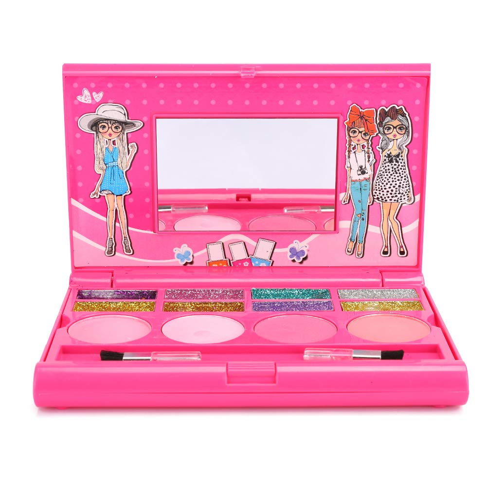 Children Makeup, Portable Children Cosmetics Playing Box with Lip Gloss Eye Shadow Kit for Girl Gift (PINK)