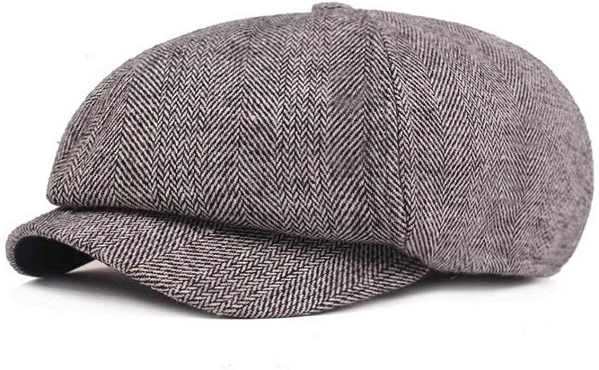Mongous Classic Retro Irish Tweed Caps Wool Blend Herringbone Beret Hat