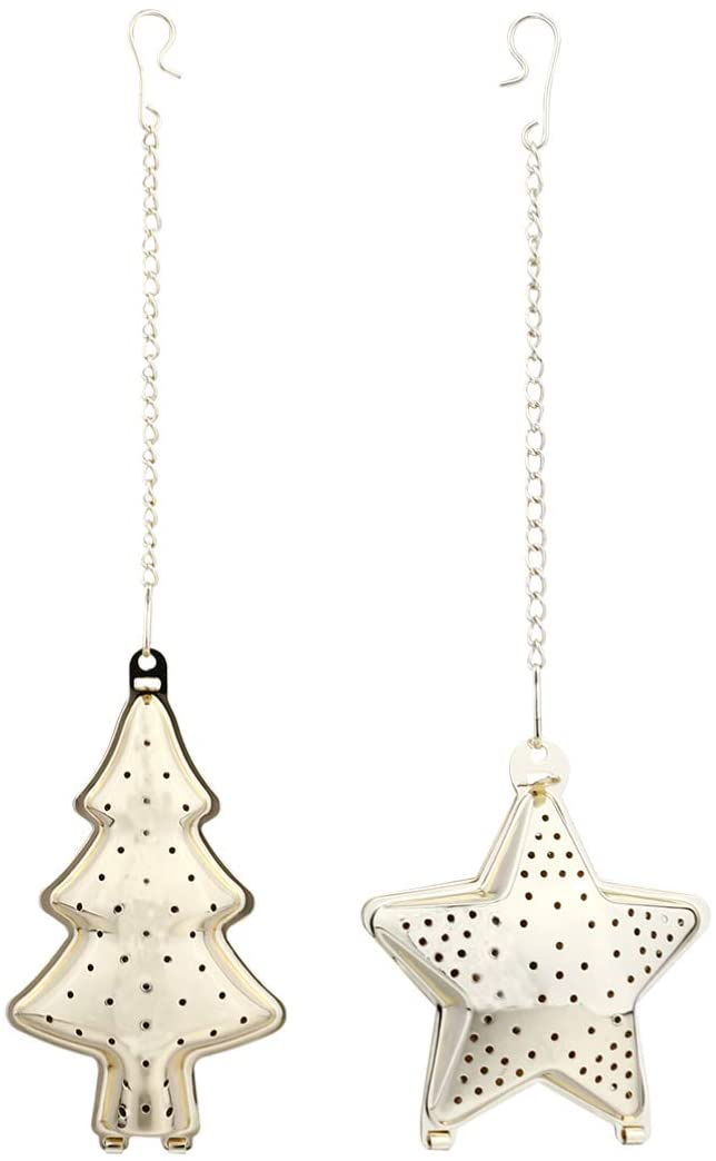 Hemoton Stainless Steel Mesh Tea Ball Christmas Tree Star Tea Infuser Strainer Filters Tea Interval Diffuser with Chain Hook for Loose Leaf Seasoning Spices Tea Lovers Gift