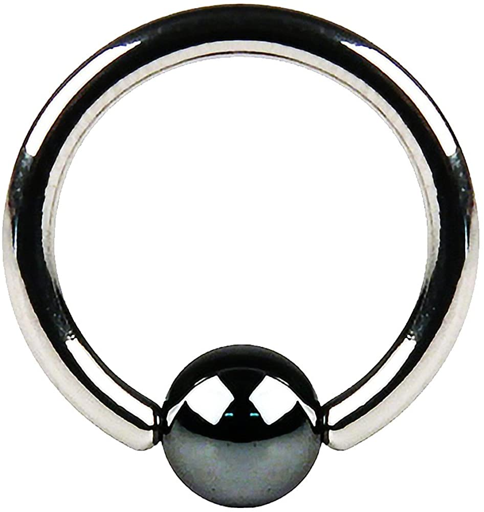 FIFTH CUE Hematite Plated Captive Bead Ring 316L Surgical Surgical Steel