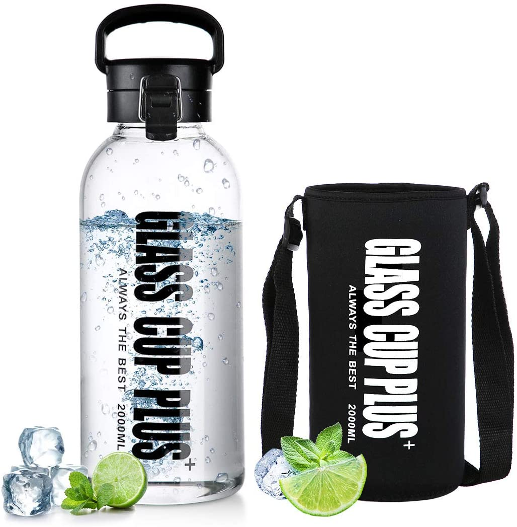 67oz Large Infuser Water Botte with Sleeve, Reusable Glass Flip Top Sport Water Bottle with Handle & Shoulder Strap for Gym Hiking Camping