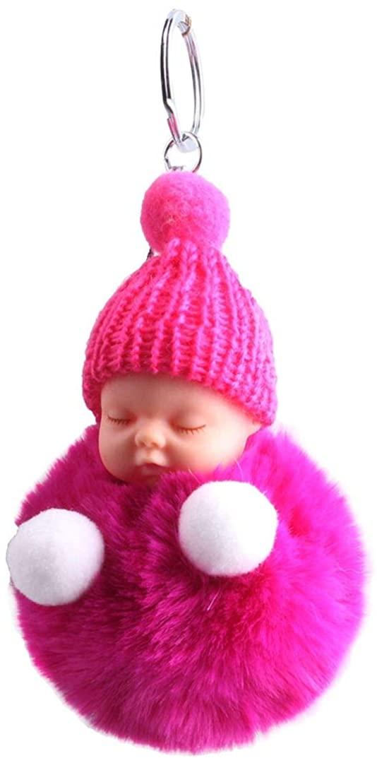 Ukerdo Cute Sleeping Baby Doll Keychains Fluffy Pompom Car Keyring Baby Toy Key Ring