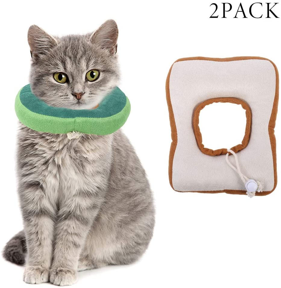 Moguer 2Pcs Adjustable Cat Recovery Collar Cute Neck Cone After Surgery Dog Cones Wound Healing Protective Elizabethan Collars Soft Edge for Kitten and Cats