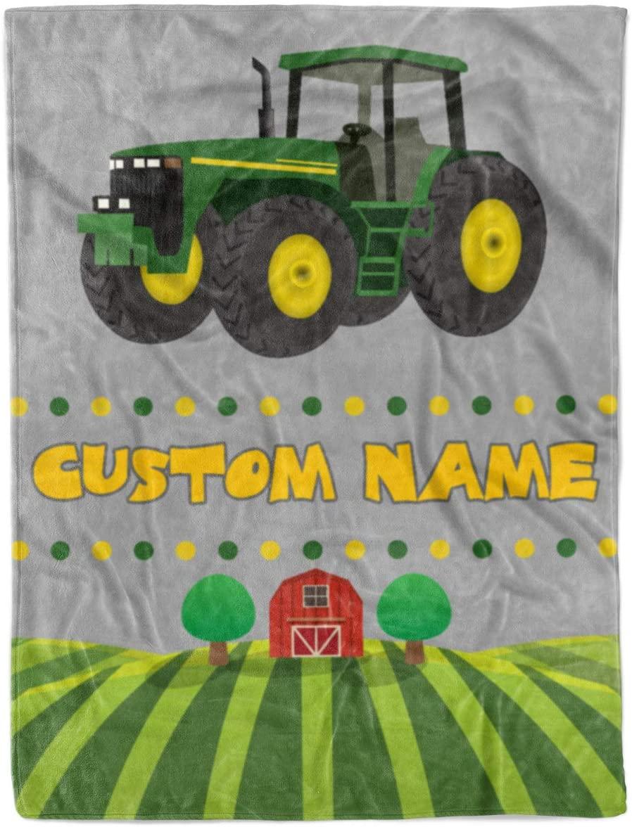 Custom Name Kids Tractor Fleece Sherpa and Minky Extra Large Printed Throw Blankets (Medium 50x60 Sherpa Fleece)