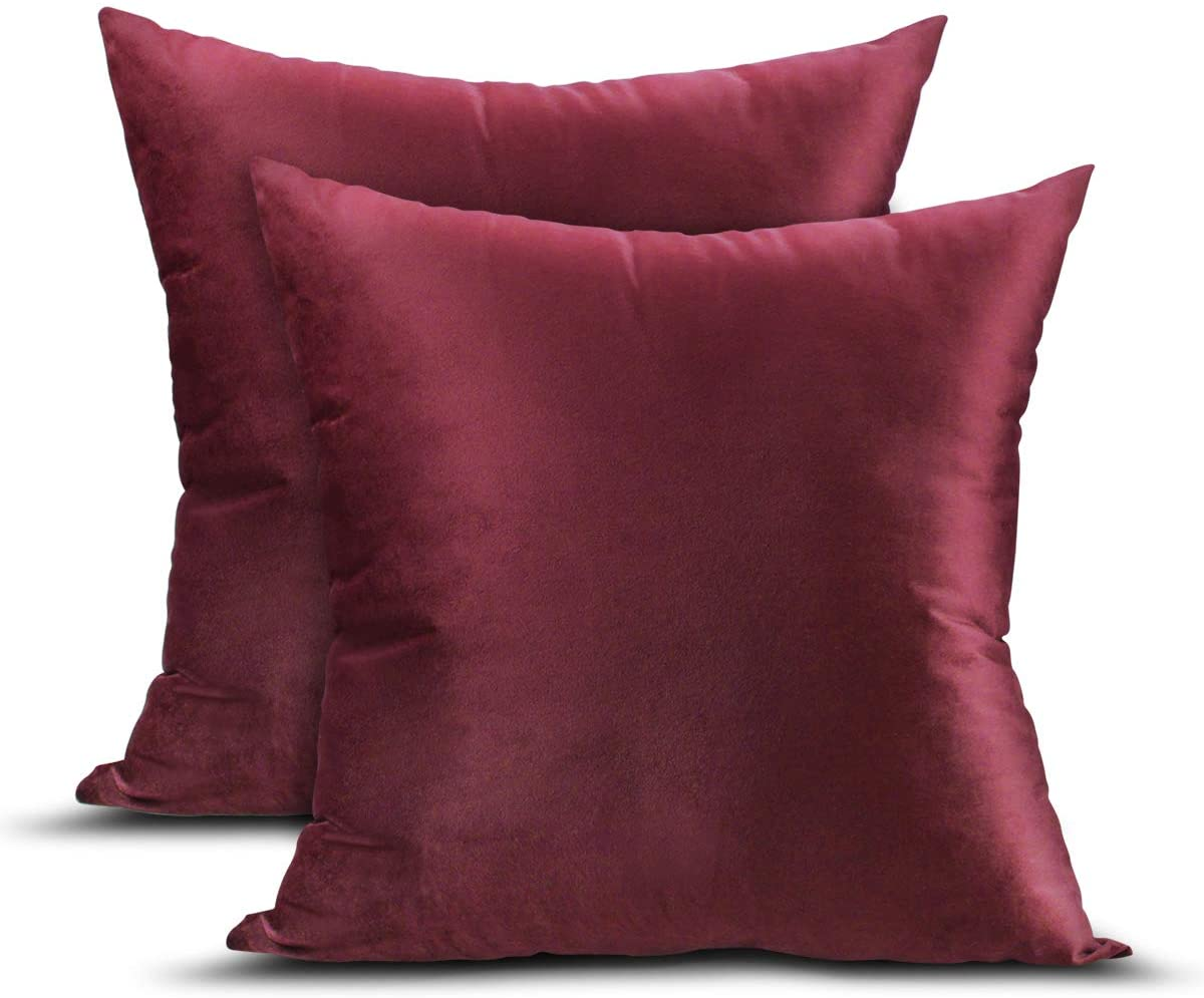 UVOGOM 2 Packs Velvet Pillow Covers, 18x18 Inch Decorative Square Pillowcase Soft Throw Pillows Cover for Cushion Sofa Car Bedroom Kitchen Living Room Bedding with Zipper Closure, Wine Red
