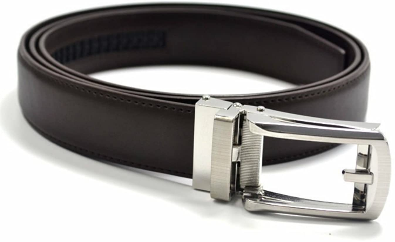 Men-Ratchet-Belt-Leather Set of 2 Brown Fits Up to 48 Inches