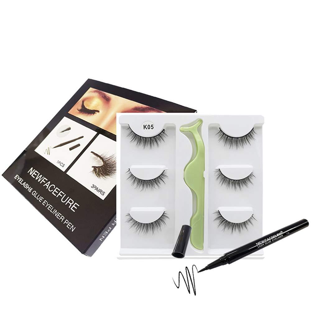 Eyelash Extension kit, Black Magic Eyeliner Pen with 3 Pairs 3 D False Lashes Set, Waterproof Self Adhesive Collection Eye Liner and Natural Lashes Tweezers Makeup (KS15)