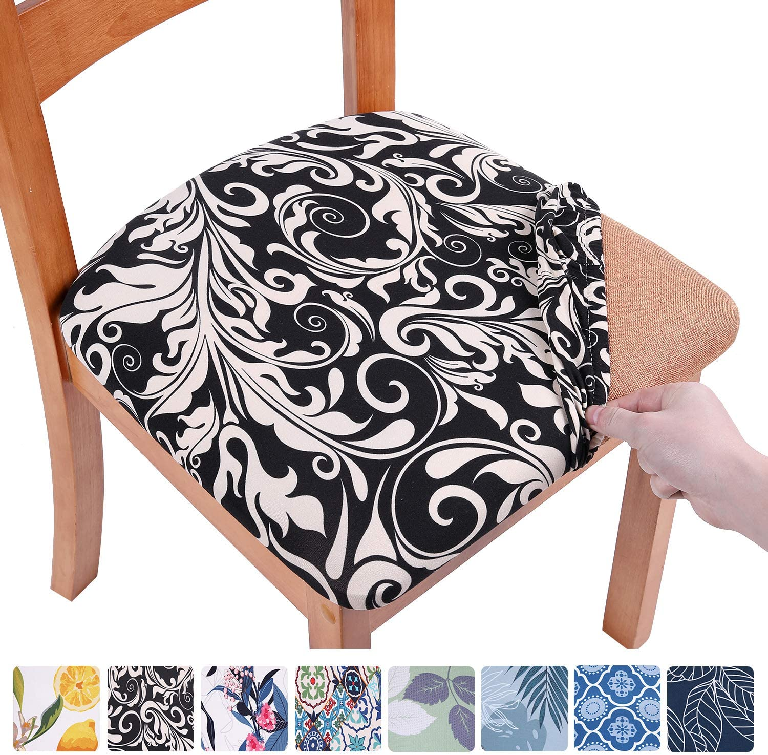 smiry Printed Dining Chair Seat Covers - Stretchy Removable Washable Upholstered Chair Seat Slipcover Protector (Set of 2, Black Baroque)