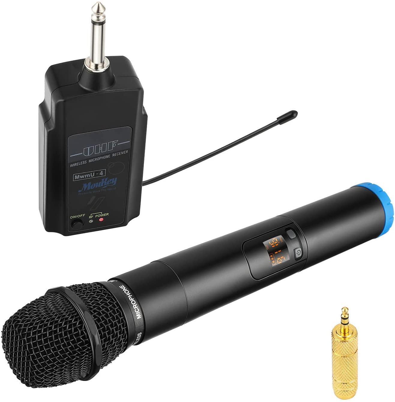 Moukey Wireless Microphone, UHF Dynamic Handheld Karaoke Mic Wireless Mic System for Karaoke, Singing, Stage, Wedding, Speech, Karaoke Machine, Amplifier, Mixer,PA System,Speakers - 164ft