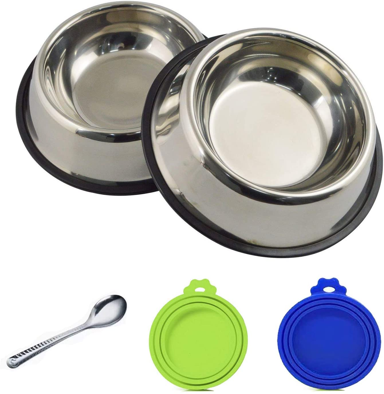 Gz party Stainless Steel Dog Bowl with Rubber Base、Pet Food Can Covers and Pet Food Can Spoon,Pet Supplies Kit