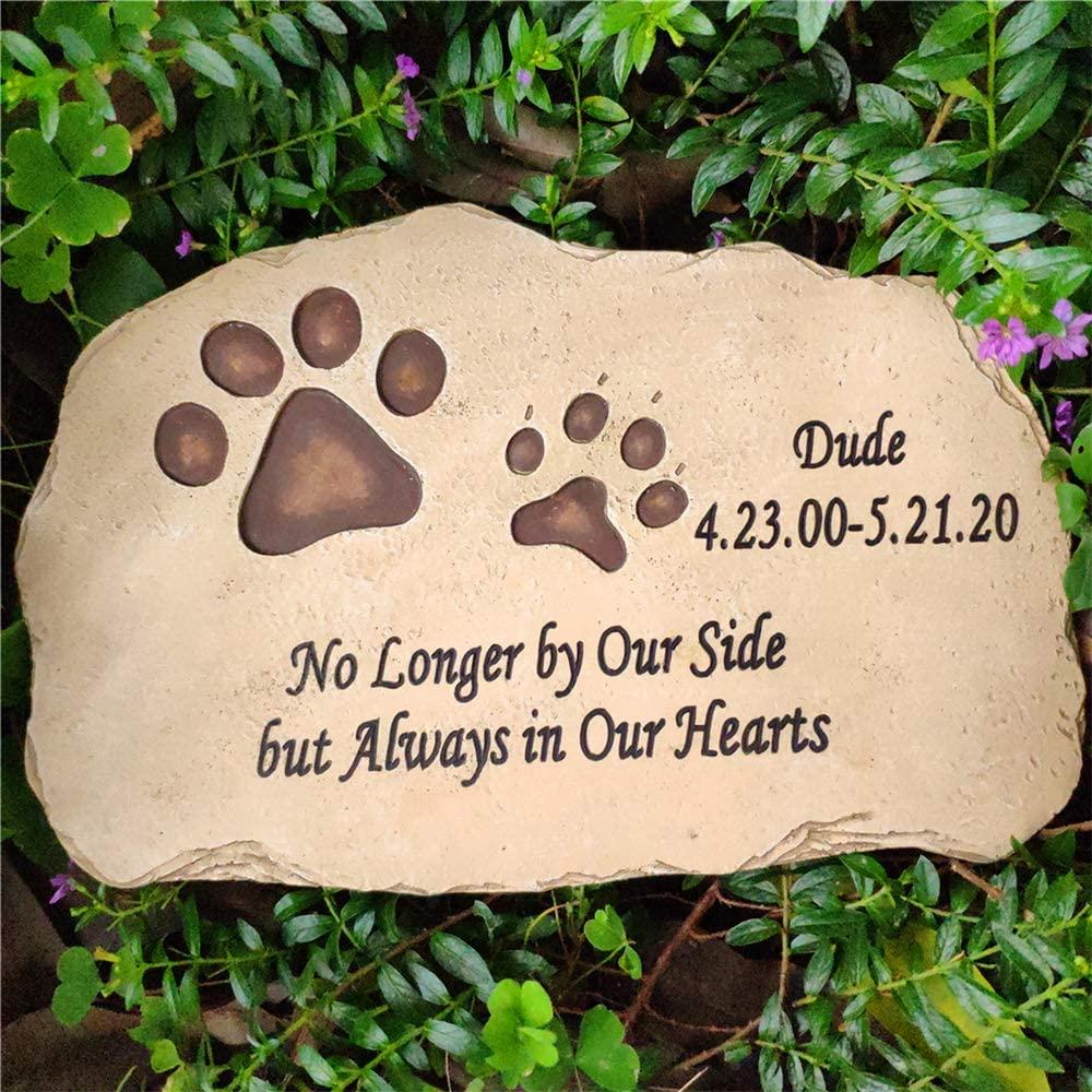 Aveena Paw Prints Pet Memorial Stones,Personalized Dog Memorial Stones Cat Memorial Stones,All Content is Customizable
