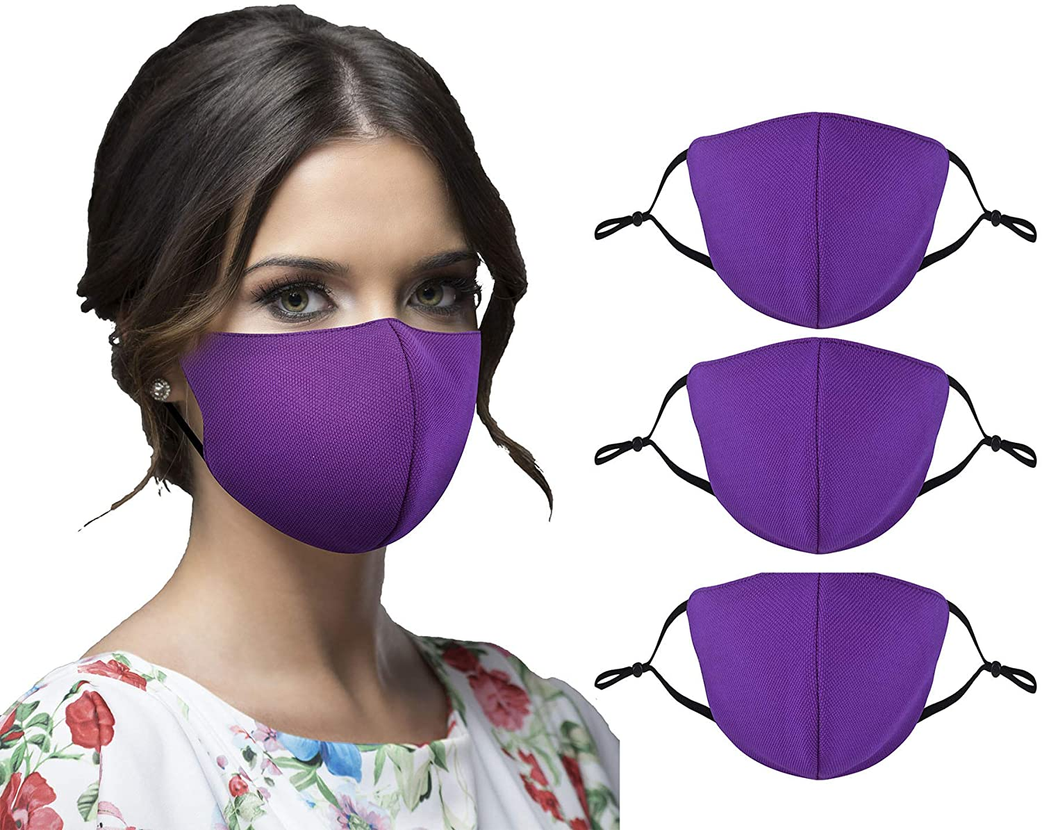 3 Pack Purple Colored Cloth Face Madks Washable Reusable for Men Women with Adjustable Ear Loops, 2 Layer Fitted Adults Face Madks Breathable with 3D Design
