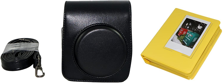 Essential Bundle Fujifilm instax Mini 70 Camera Retro Case with Strap Black + 64 Pockets Mini Films Book Photo Album Yellow