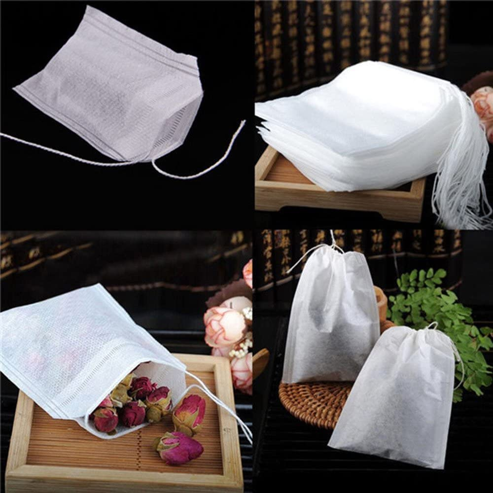 Ywoow Storage Bag, 100 pcs Empty Teabags String Heat Seal Filter Paper Herb Loose Tea Bag,Tea Bag.