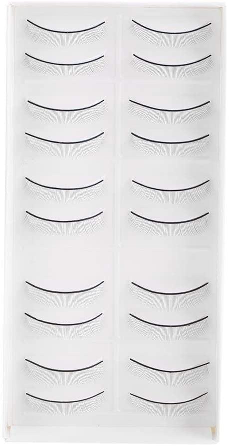 Rockyin 10 Pairs Practice Eyelashes False Lashes for Eyelash Extension Grafting Training Eye Makeup