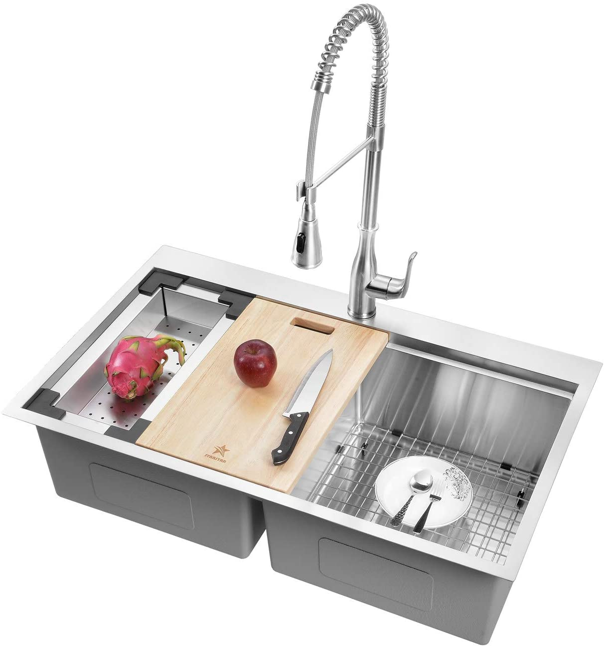 STARSTAR Workstation Ledge Drop-in/Topmount Double Bowl 304 Stainless Steel Kitchen Sink, With Two Grids, Colander, Cutting Board, Two Strainers (30 x 22 x 10 50/50)
