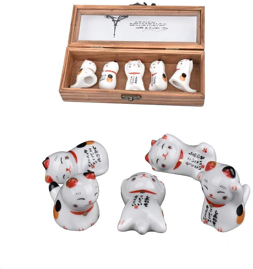 gShopVV 5 Pcs Japanese Style Lucky Cat in Box Set Ceramic Chopsticks Rest Spoon Fork Knife Holder Rack