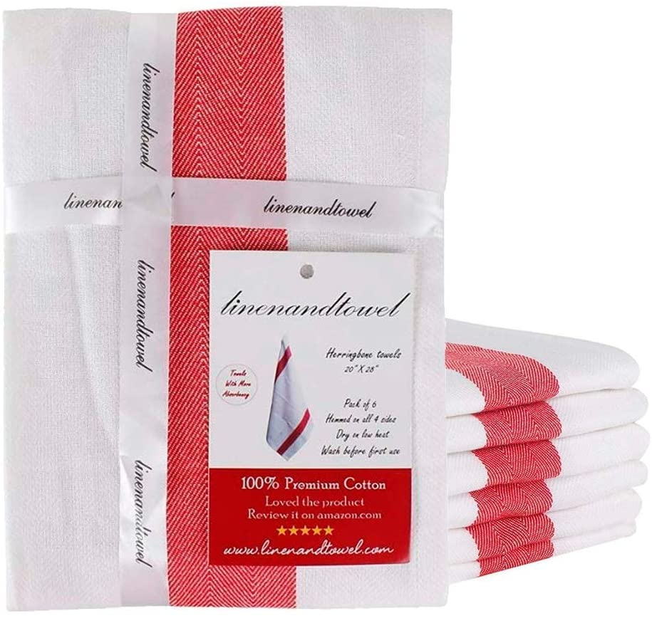 Linen and Towel Dish Towels   6-Pack 130 Thread Count Ring Spun Cotton Woven   Small 16