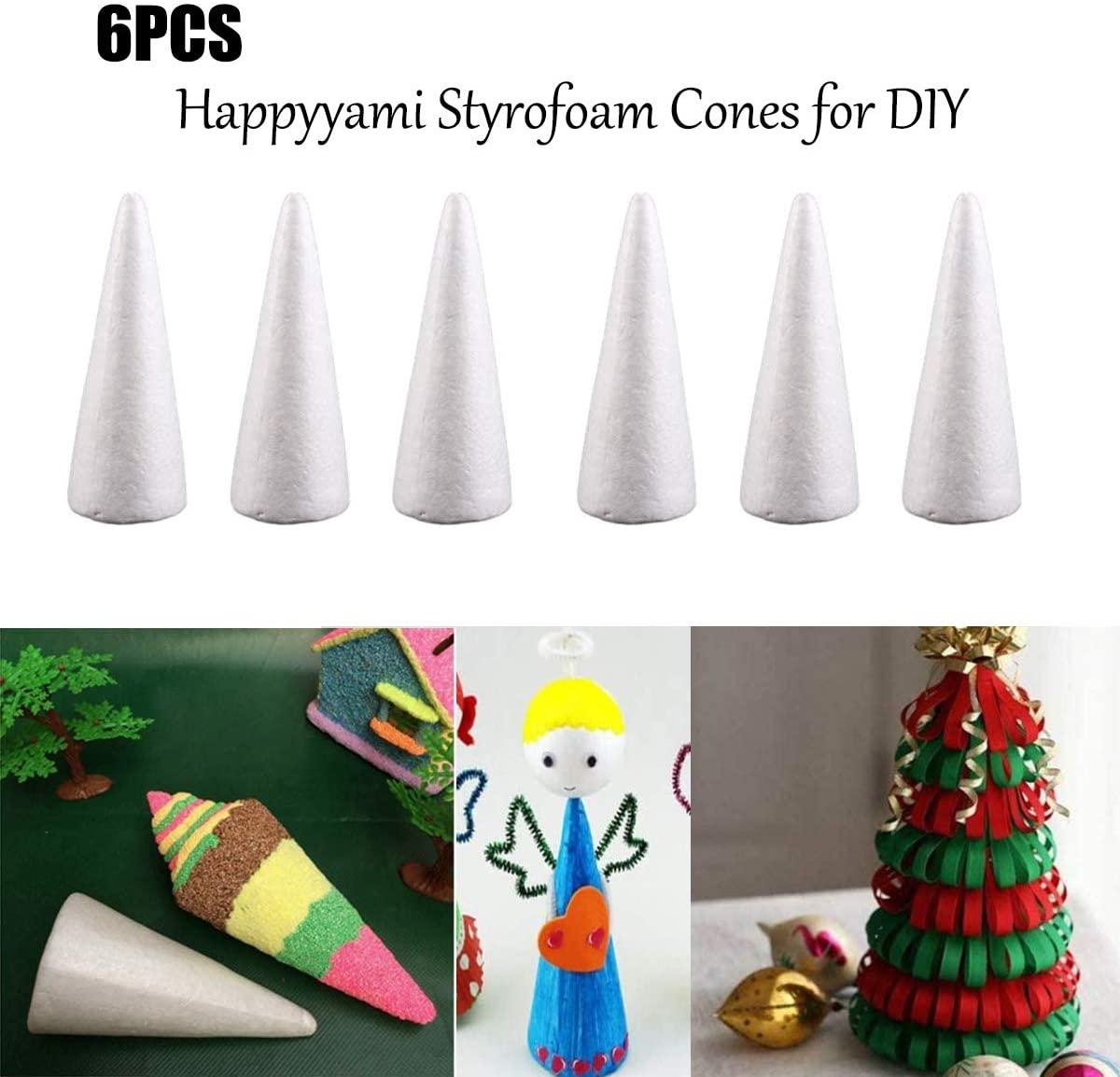 Happyyami 6pcs Craft Foam Cone White Styrofoam Cones for DIY Home Craft Project Christmas Tree Table Centerpiece 24CM