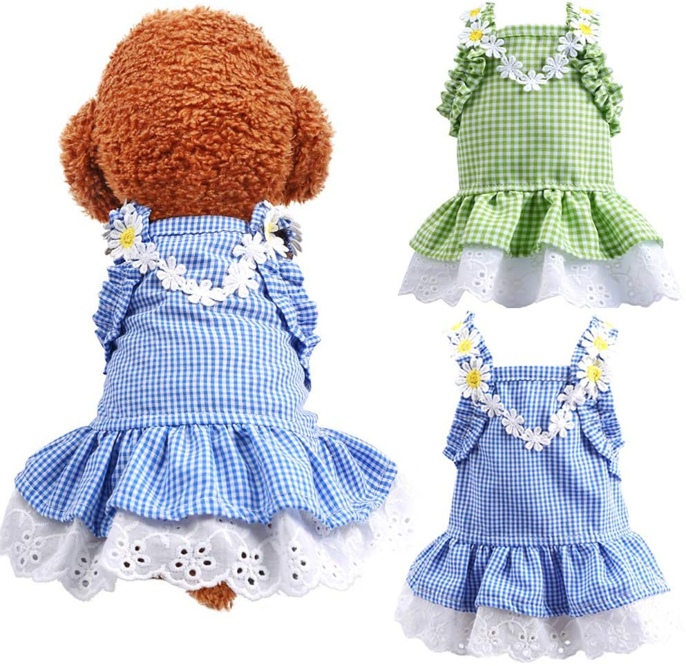 DOGGYZSTYLE 2 Pack Summer Dog Dresses Girl Puppy Cat Plaid Princess Dress Party Birthday Pet Vest Clothes for Small Medium Dogs