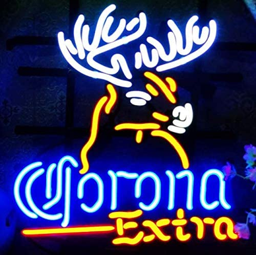 FINEON Corona Extra Deer Real Glass Tube 17(w) insx13(h) ins Neon Sign Light for Beer Bar Pub Garage Room Bedroom Windows Gift Billboard …