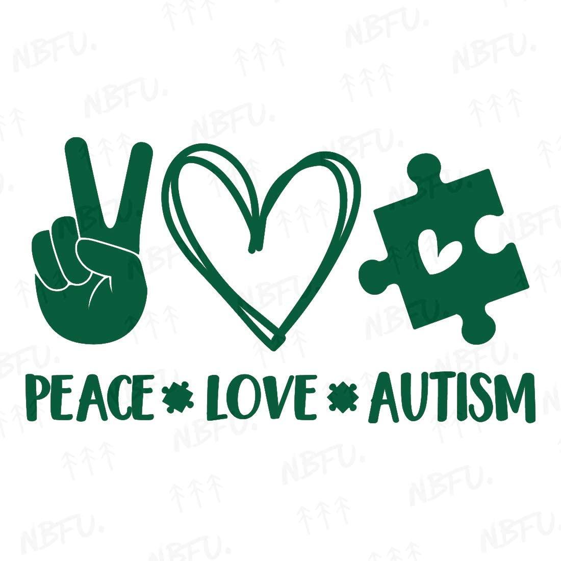 NBFU Decals Peace Love Autism Puzzle Heart 1 (Green) (Set of 2) Premium Waterproof Vinyl Decal Stickers for Laptop Phone Accessory Helmet Car Window Bumper Mug Tuber Cup Door Wall Decoration