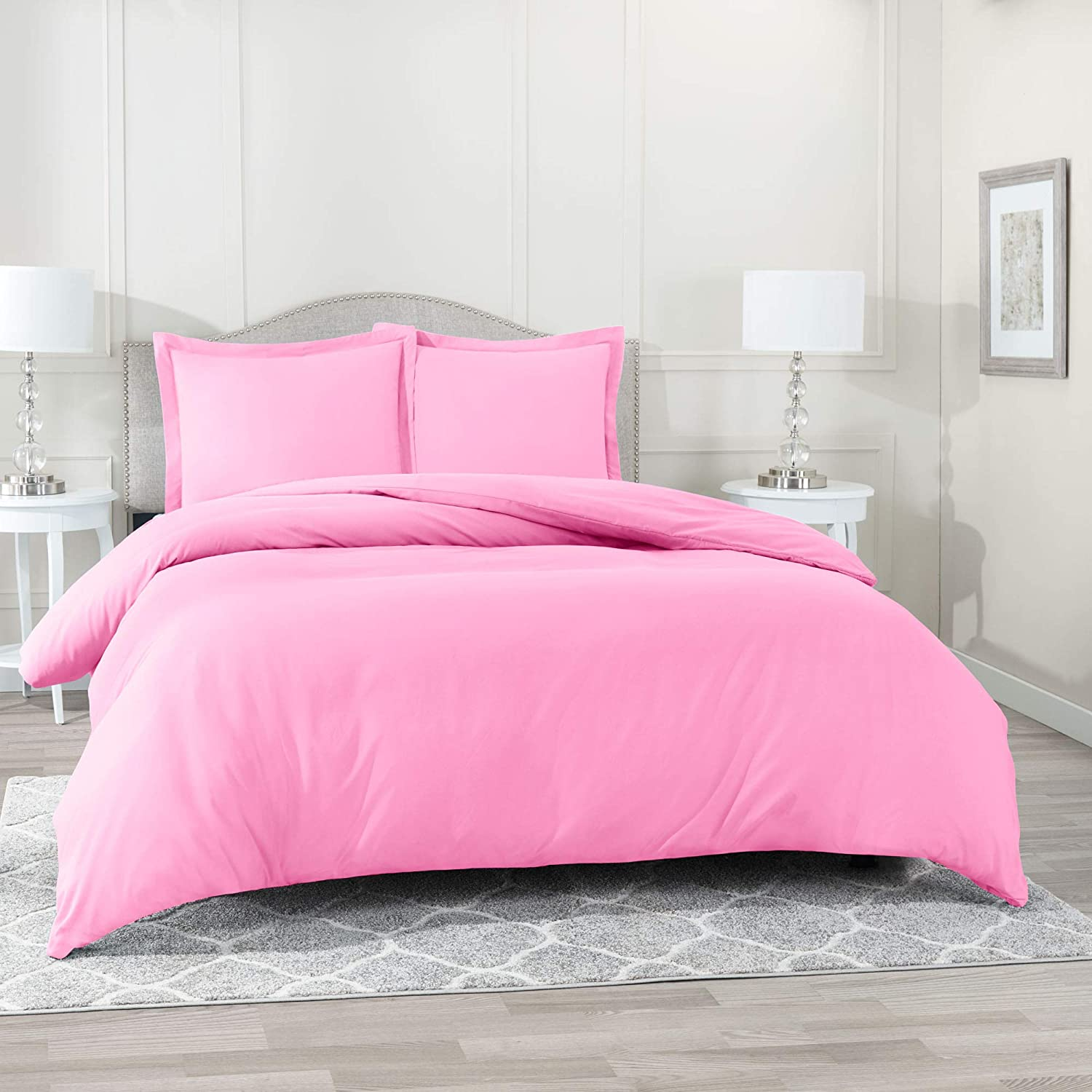 Nestl Bedding Duvet Cover 2 Piece Set – Ultra Soft Double Brushed Microfiber Hotel Collection – Comforter Cover with Button Closure and 1 Pillow Sham, Light Pink - Twin (Single) 68