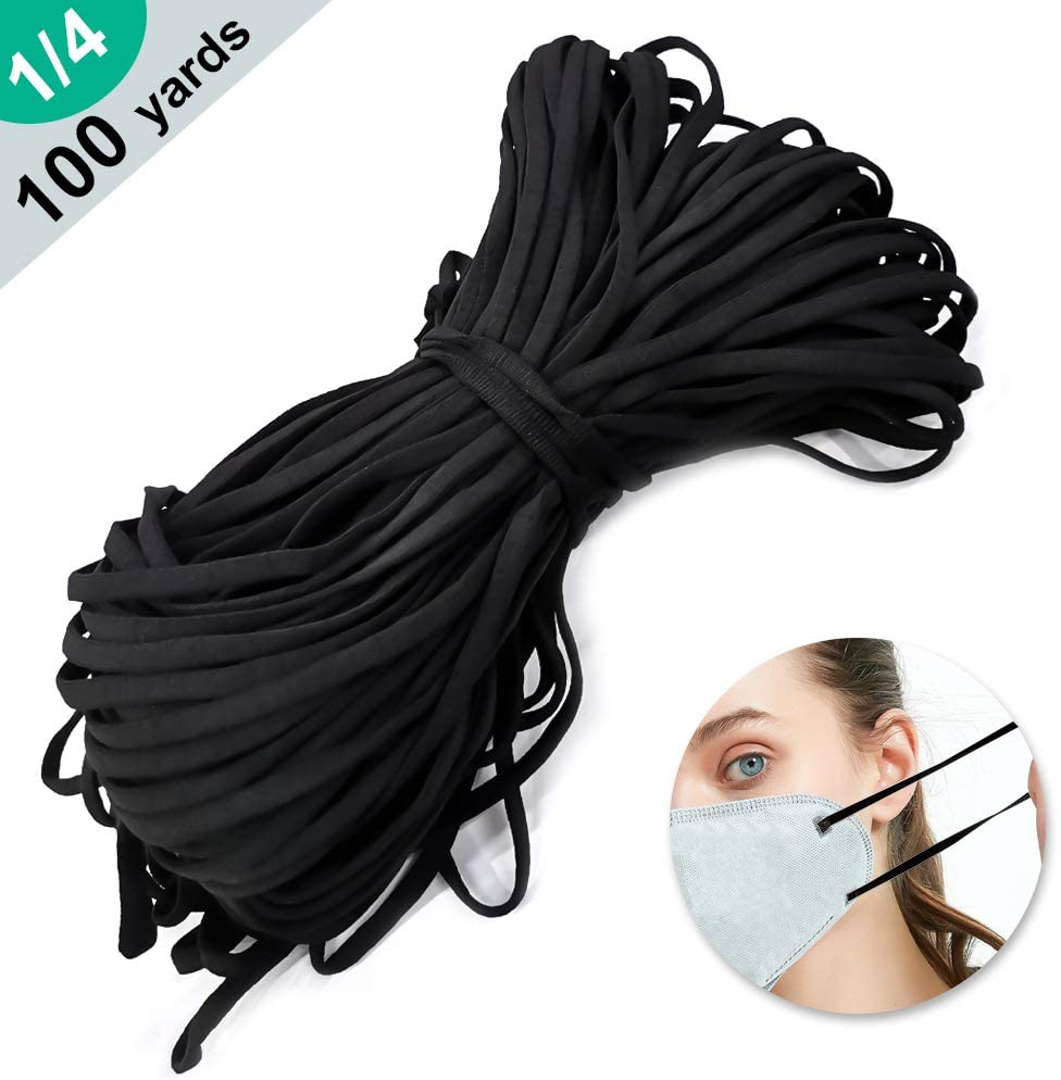 100 Yard Elastic String for Masks -1/4 Inch Wide Elastic String Cord Bands Rope for Sewing Crafts DIY Mask ( 5mm Black)