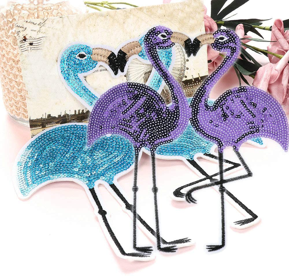 2 Pairs Flamingos Sequins Big Patch Bird Embroidered Applique Fashion Clothing Decoration Sew On Patch DIY Accessories(Purple + Blue) …