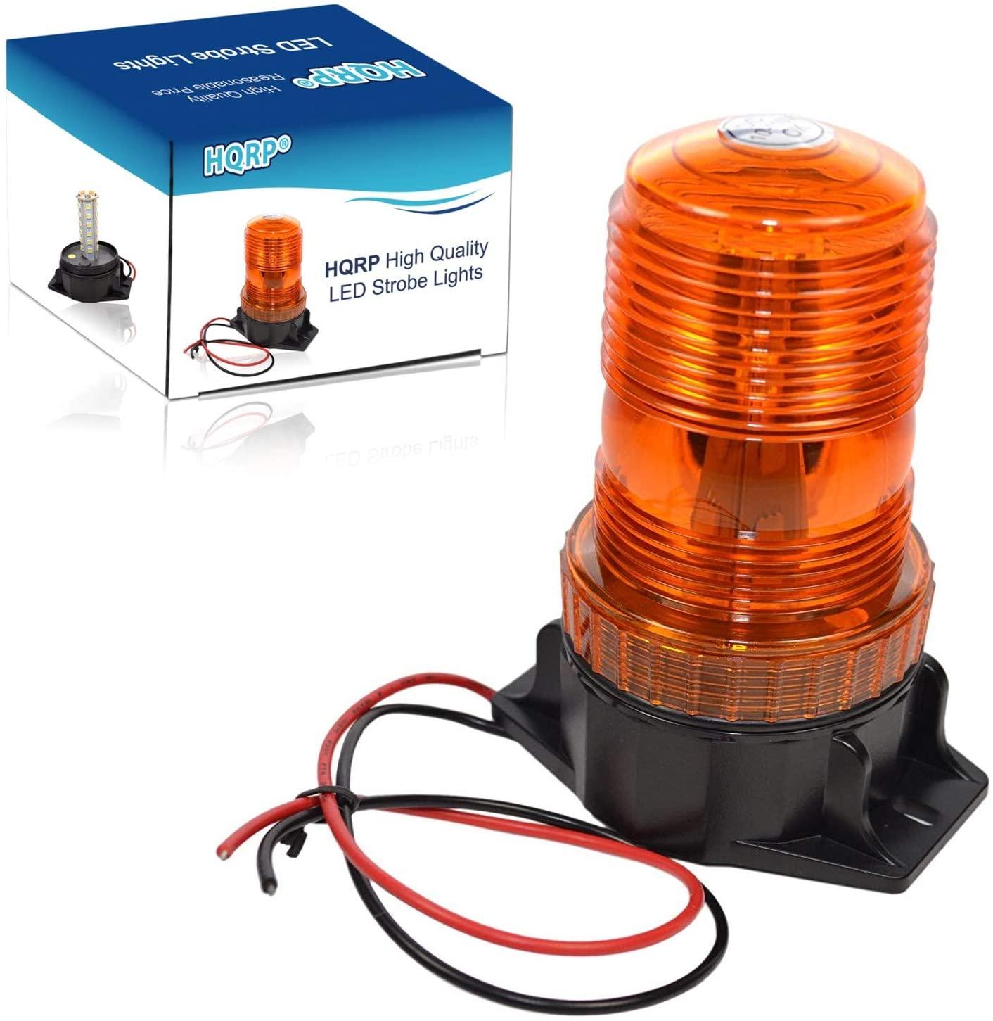 HQRP 360 Degrees 12-100V 30-LED Strobe Light Amber Mini Beacon for Safety Work & Maximum Visibility
