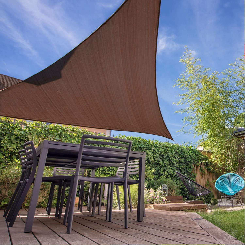 E&K Sunrise 16' x 16' x 22.6' Sun Shade Sail -Brown Right Triangle UV Block Durable Awning Perfect for Canopy Outdoor Garden Backyard-Customized