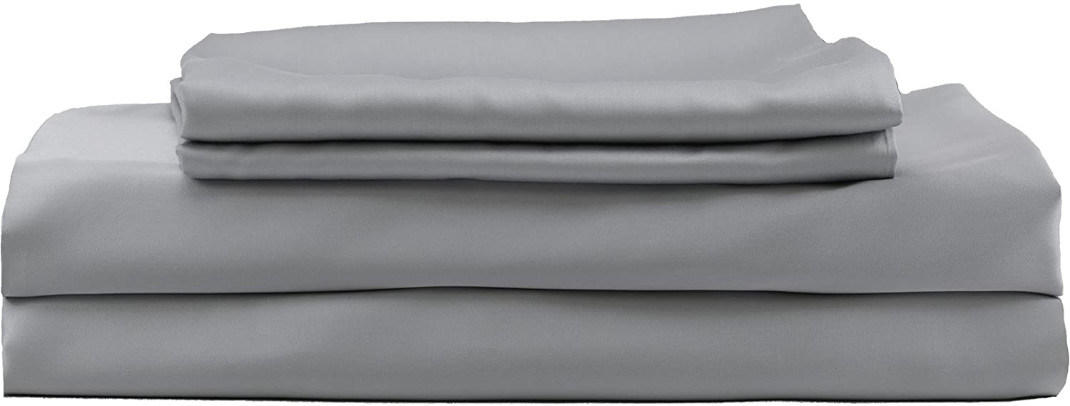 Hotel Sheets Direct 100% Bamboo Duvet Cover 3 Piece Set - Better Than Silk - 1 Duvet Cover, 2 Pillow Shams with Corner Ties and Zipper Closure (King, Grey)