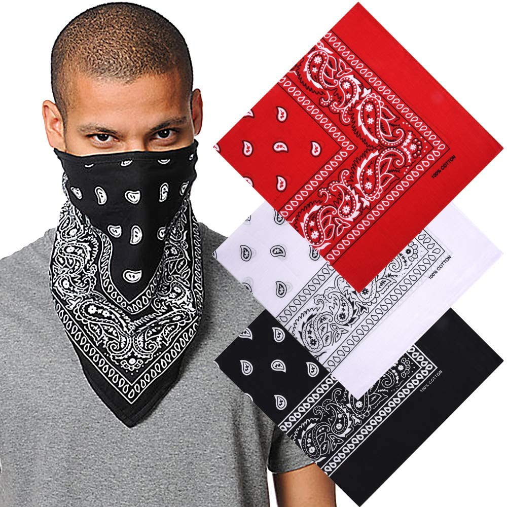Bandanas Pack for Men Women, 100% Cotton Large Paisley Handkerchief Face Scarf