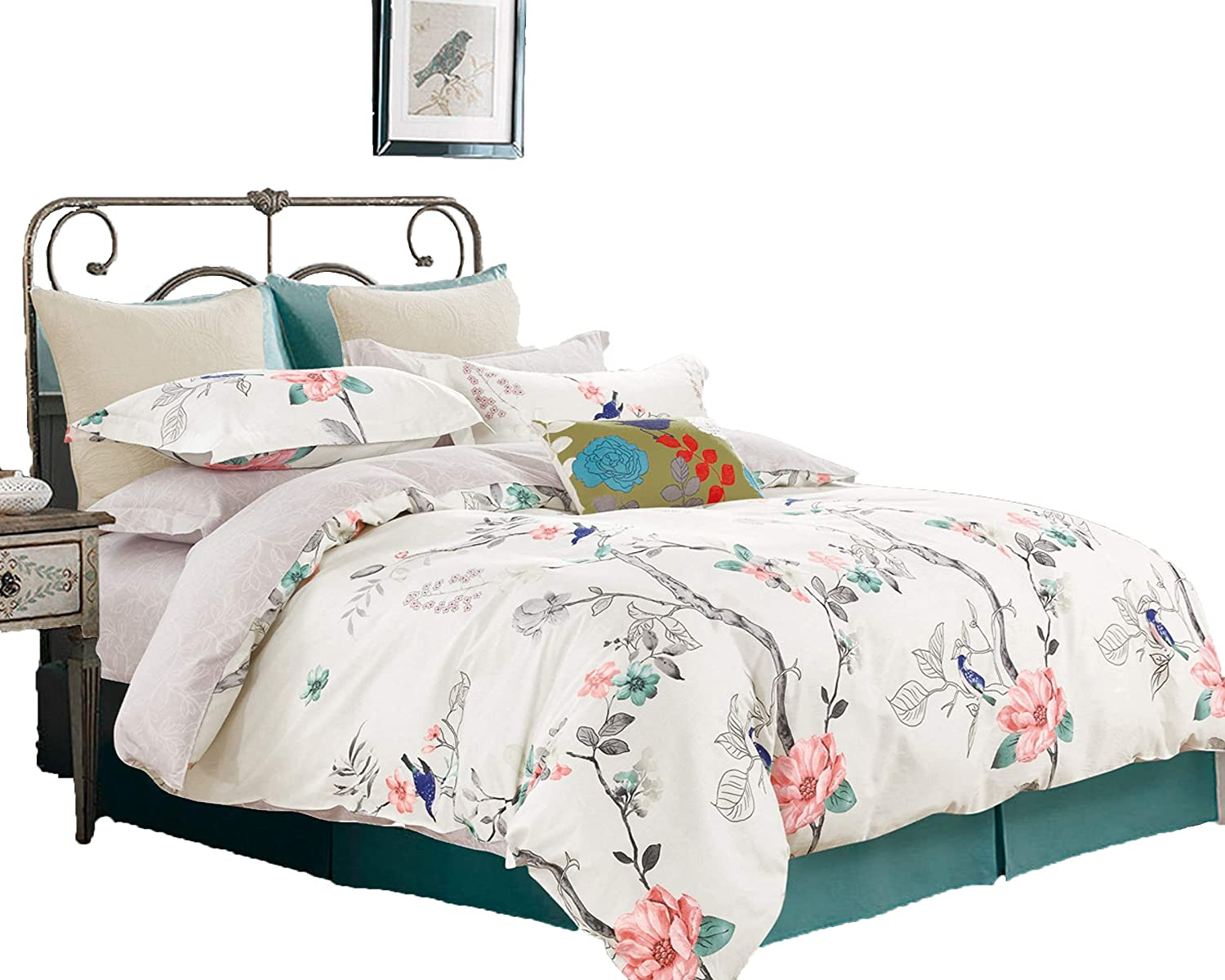 Swanson Beddings Oriental Style Reversible Floral Print 3-Piece 100% Cotton Bedding Set: Duvet Cover and Two Pillow Shams (King)