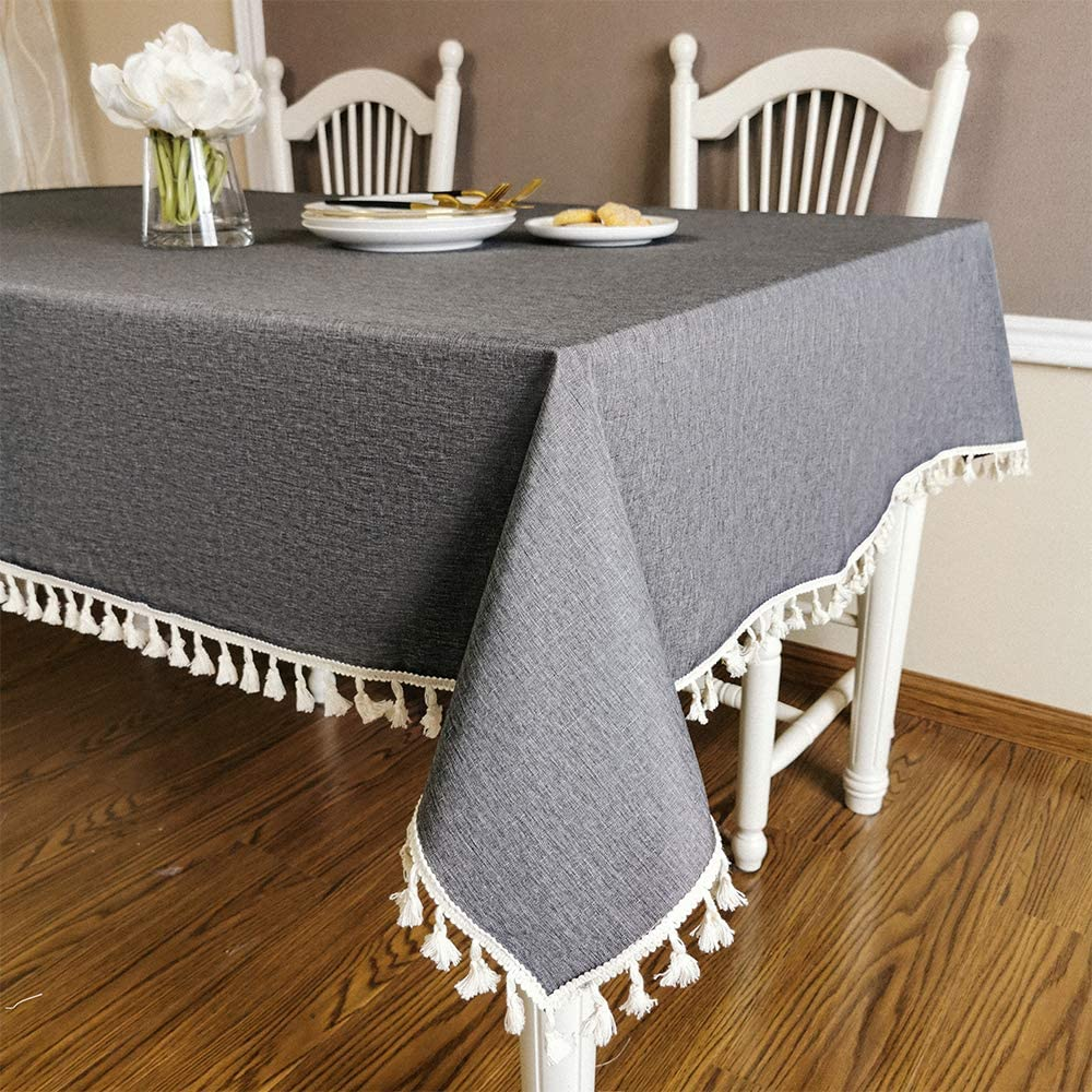 ZSASU Tablecloth Tassel Rectangle 60 x 84 Inch,Heavy Weight Fabric Oil-Proof Spill-Proof and Water Resistance Farmhouse Tablecloths,Tables for Decoration-Outdoor/Indoor,Kitchen Dining,Grey