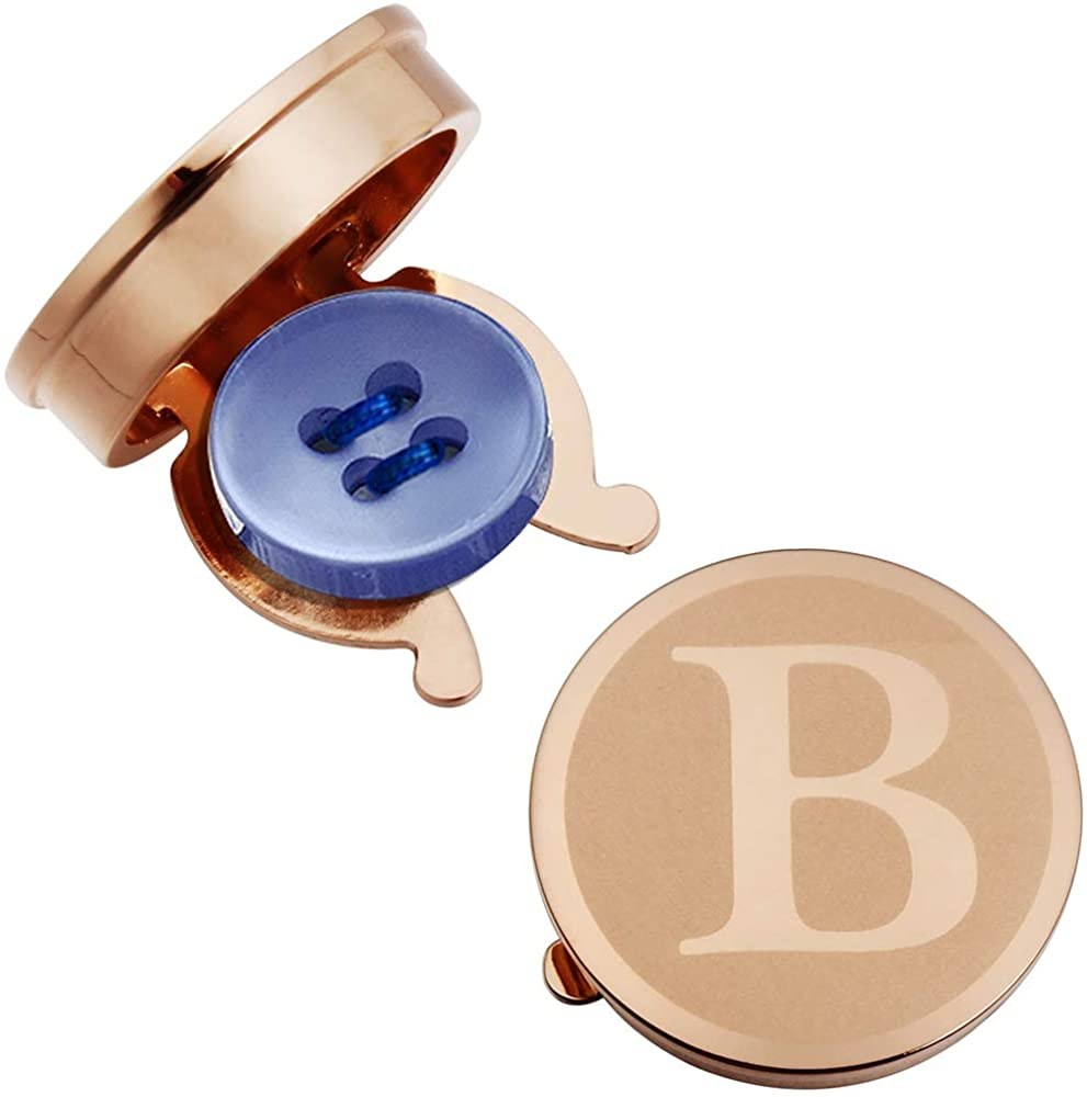HAWSON Button Cover Cufflinks for Men - Personalized Rose Gold Letter Button Covers for Wedding Business Accessories Alphabet Initial A-Z