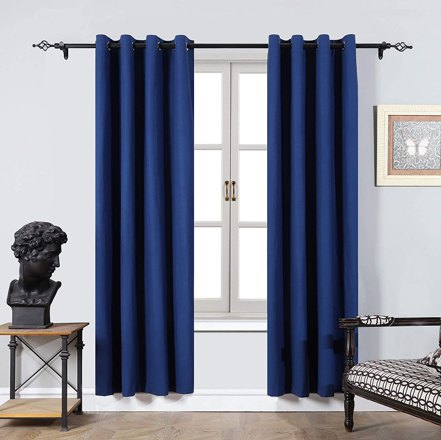 Cherhoo Soft Velvet Curtains,Grommet Top Room Darkening Curtains Window Treatment Drapes for Bedroom and Living Room,Set of 2 Blackout Curtain Panels(Navy Blue,W52 × L96 Inch)