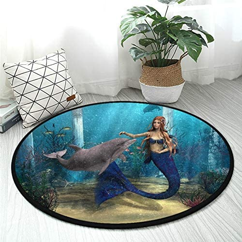 ALAZA 3D Mermaid Dolphin Ocean Round Area Rug Non Slip Rug Floor Mat Carpet Entryway Hallway Sofa Living Room Bedroom Home Decor 3' Diam