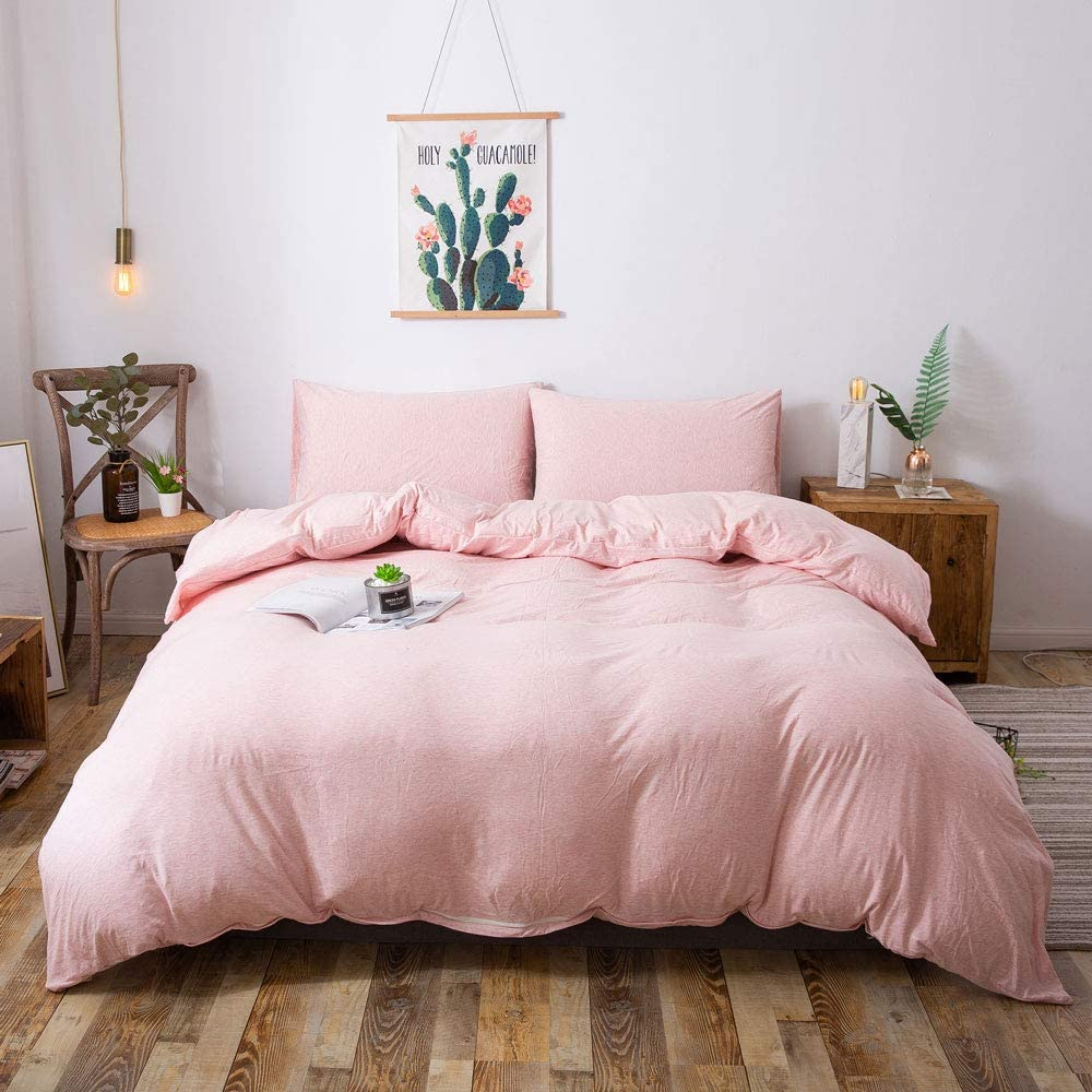Household Duvet Cover, Jersey Knit Cotton Bedding Duvet Cover Set, 3-Piece, Ultra Soft and Easy Care, Simple Style Bedding Set with Zipper Closure Includes 2 Pillowcase (Heathered Pink, King)