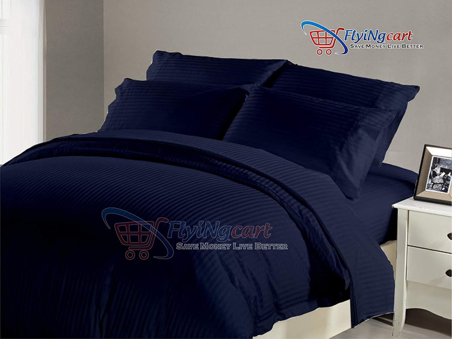 Flying Cart 1000-TC Hypoallergenic Ultra Soft Design 100% Egyptian Cotton 94x104 inch King/Cal-King Size Navy Blue Striped Duvet Cover with Zipper Closure & 2pcs Pillow Case Set