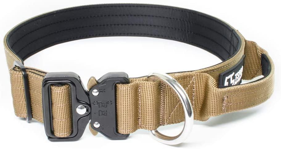 TSPRO Tactical Dog Collar Heavy Duty Dog Collar with Handle K9 Military Dog Collar Durable Thick Dog Collar Adjustable Training Dog Collar with Metal Buckle