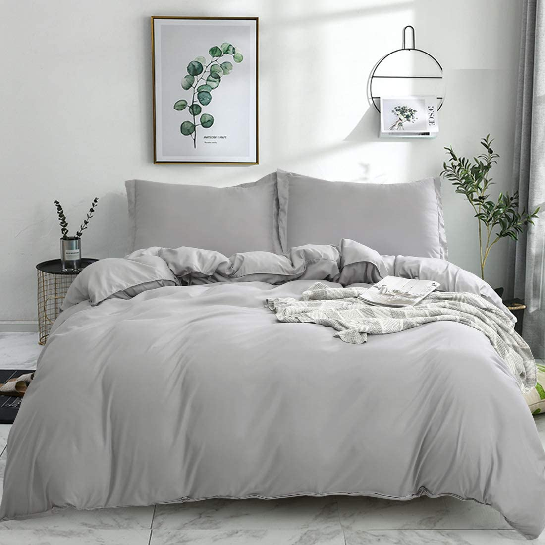 Balichun Duvet Cover Set Queen Size Gray Premium with Zipper Closure Hotel Quality Wrinkle and Fade Resistant Ultra Soft -3 Piece-1 Microfiber Duvet Cover Matching 2 Pillow Shams (Gray, Full/Queen)