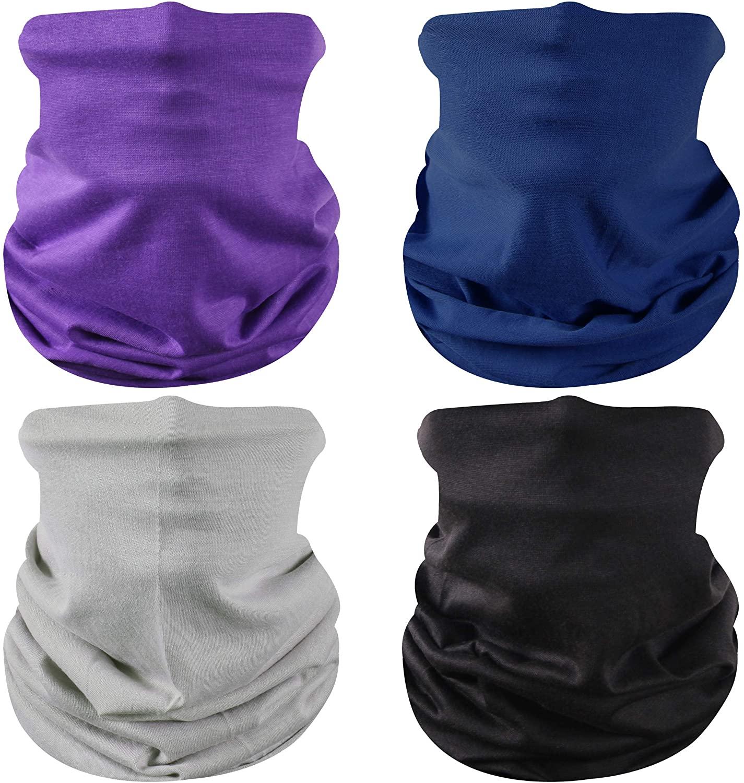JPGO Face Cover Neck Gaiter Face Scarf for Sun Protection Washable Reusable Balaclava Bandana 4 Pack