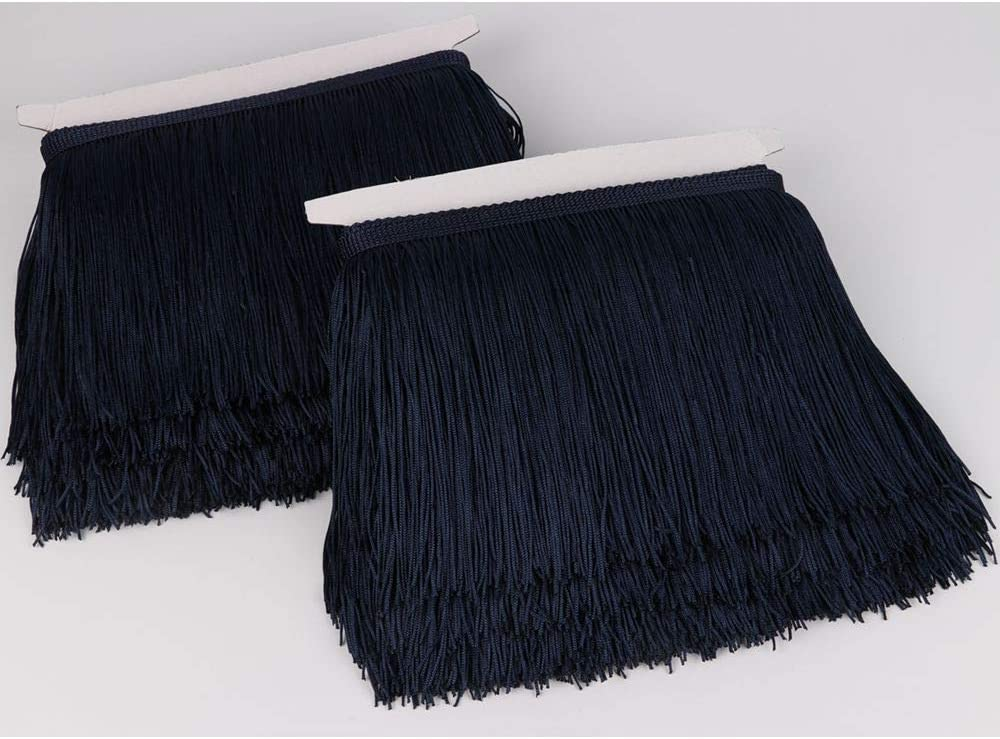 Heartwish268 Fringe Trim Lace Polyerter Fibre Tassel 6inch Wide 10 Yards Long for Clothes Accessories Latin Wedding Dress DIY Lamp Shade Decoration Black White Red(Navy Blue)