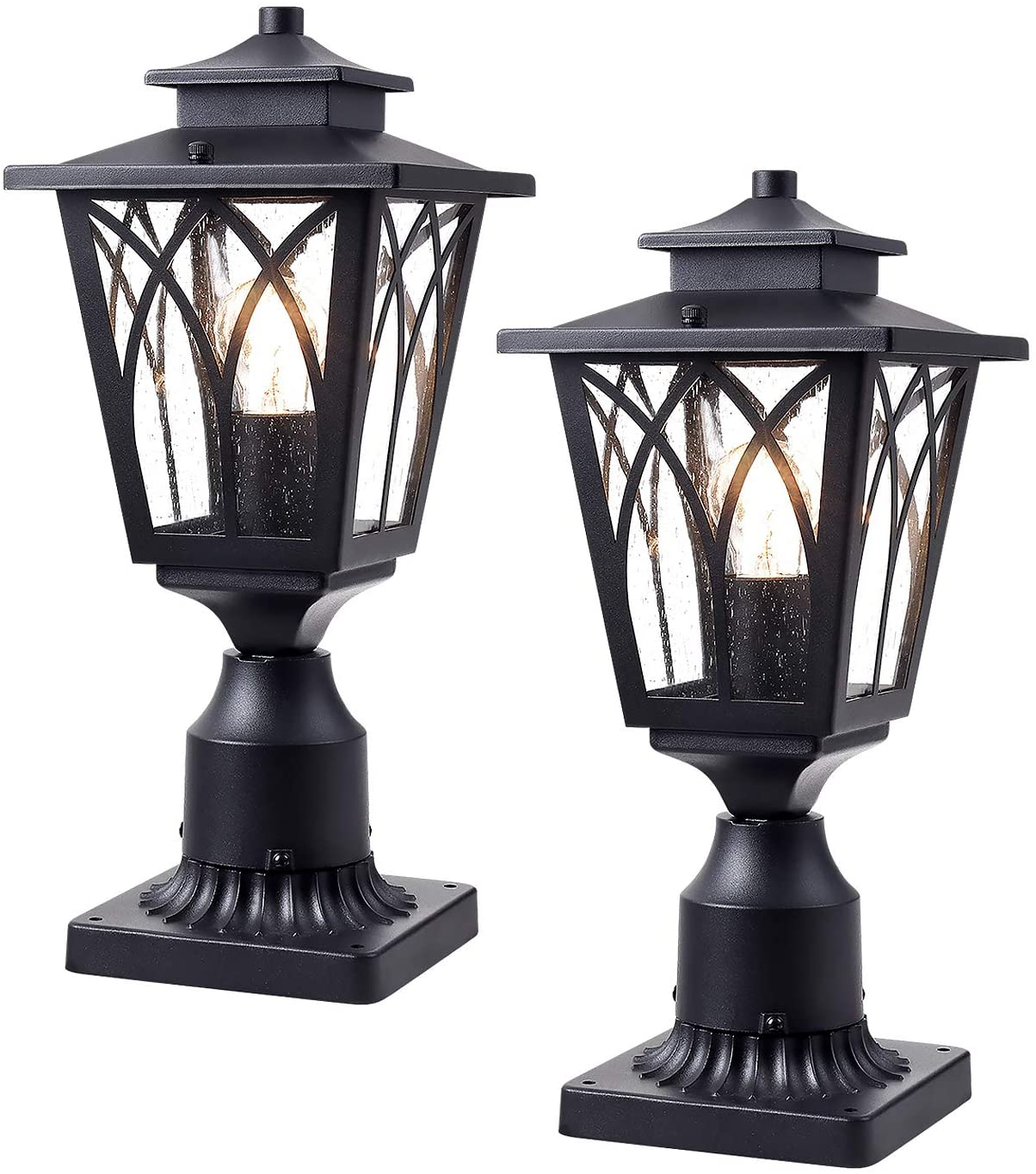 JAZAVA Outdoor Post Light Fixtures, Tulip Exterior Post Lantern Street Light with 3-Inch Pier Mount Base One-Light for House Patio Entryway, Black Finish with Clear Seeded Glass, Set of 2