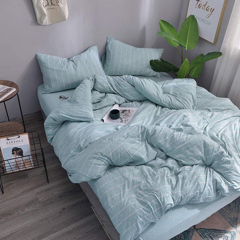Household Jersey Cotton Duvet Cover, 3 Piece Duvet Cover Set with Zipper Closure Includes 2 Pillowcase (Stripe Aqua Blue, Queen)
