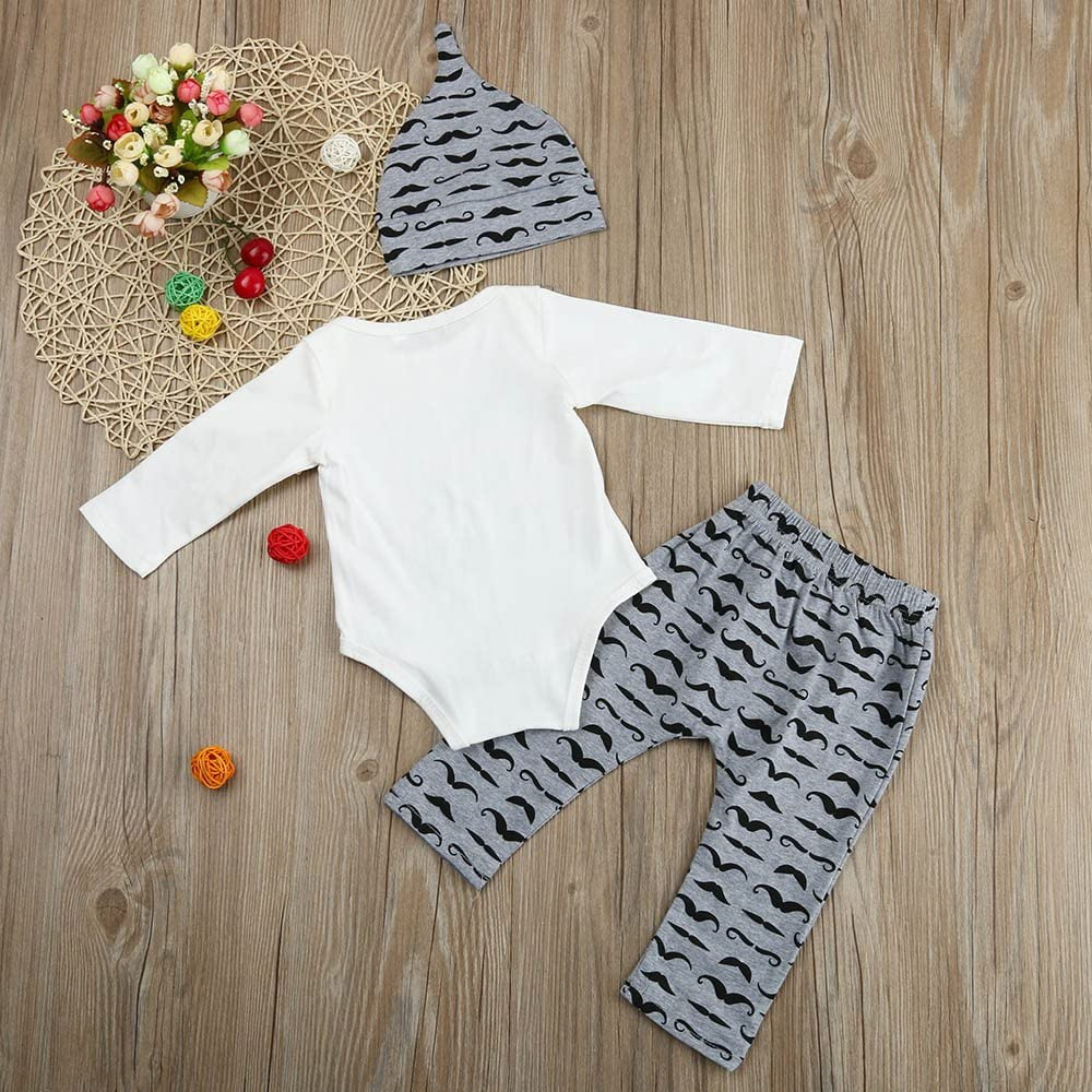 BPOF99 Baby Boy Rompers Cute Lovely Cute 3PCS Set Newborn Baby Boy Romper Tops Long Pants Hat Outfits Clothes 0-18M Lightweight Breathable Skin Friendly Clothes