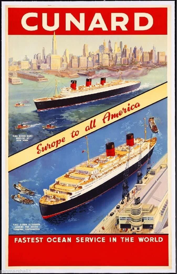MAGNET Cunard - Europe to America Ocean Liner Travel Vintage Advertisement Magnet