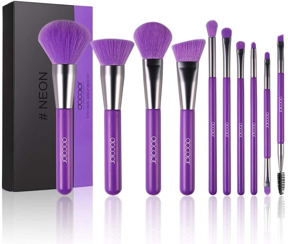 shamrock58 Cosmetics Makeup Brush 10 Pieces Set for Foundation Blending Blush Concealer Eyeshadow Eyeliner Eyebrow Face Kabuki Liquid Powder Cream Cruelty-Free Synthetic Bristles Make Up Kit (Purple)